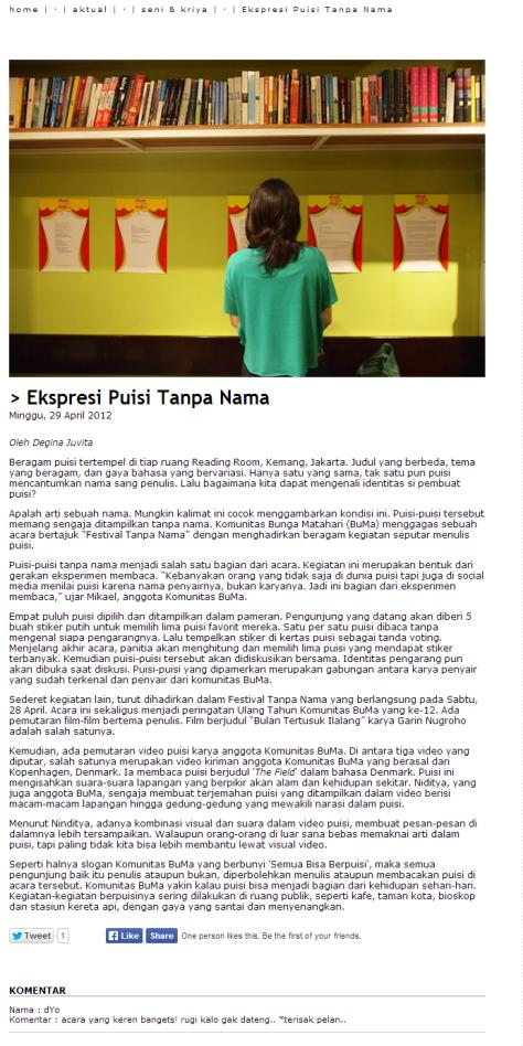 Ekspresi Puisi Tanpa Nama - Satulingkar.com.clipular